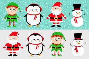 Snowman Santa Claus Elf Penguin set.