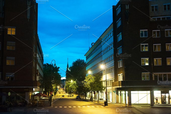 Empty Oslo street. Norway - Architecture