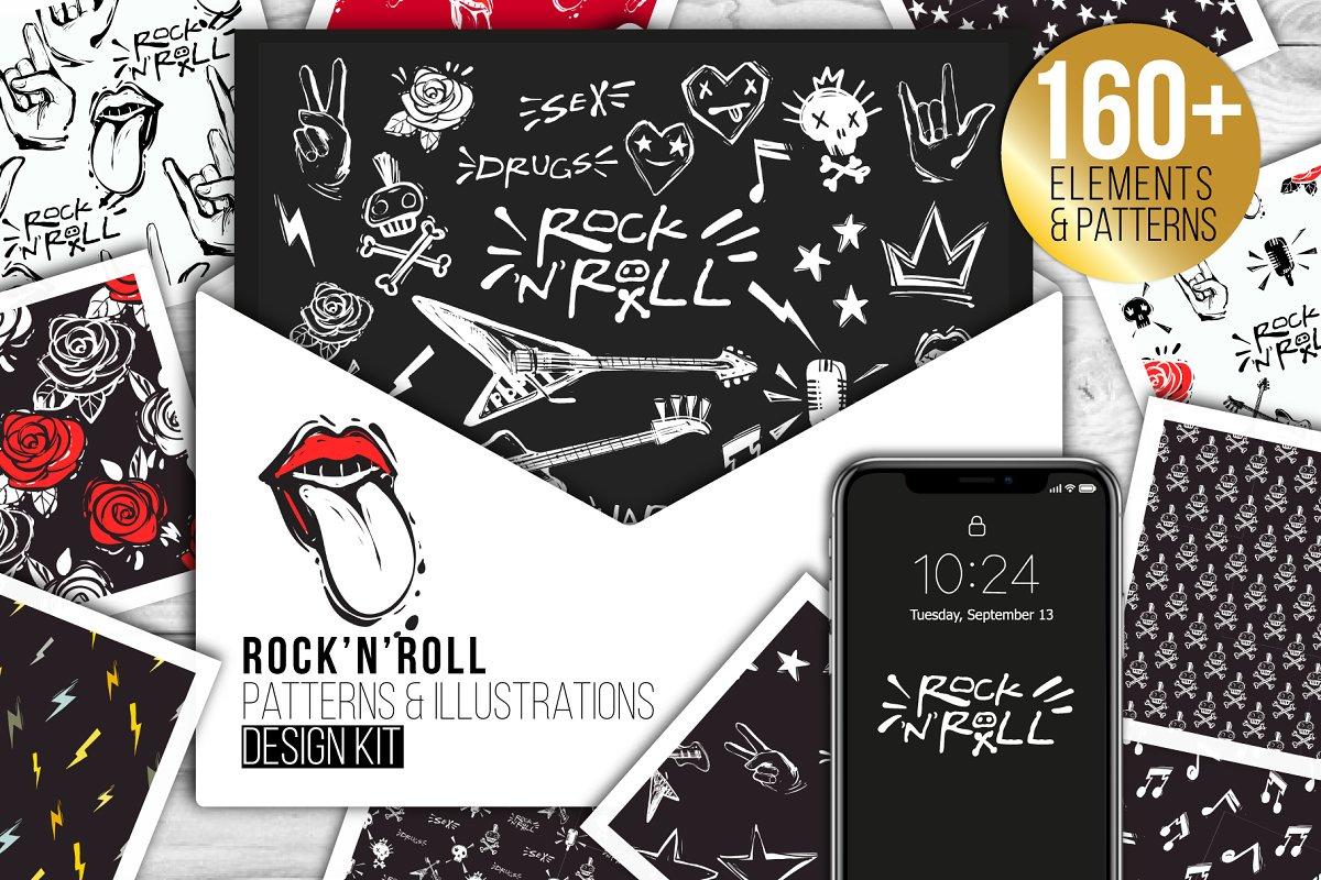 Rock-n-Roll Elements set & Patterns ~ Illustrations ~ Creative Market