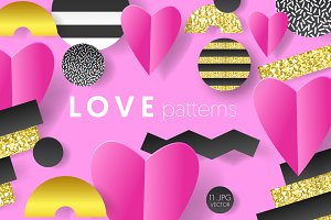 Valentine's Hearts Patterns Set