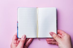 White notebook with clean sheets in