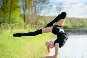Rhythmic gymnast girl exercising