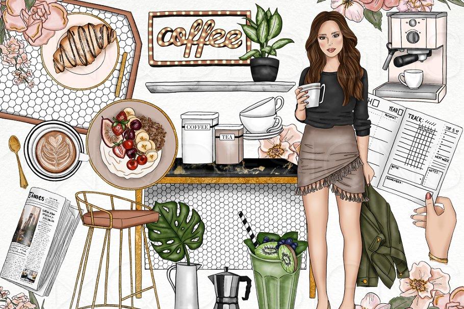 Coffee Brunch Fashion Girl Clip Art