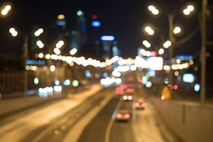 Blurred lights of city traffic