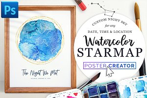 Watercolor Starmap Poster Creator
