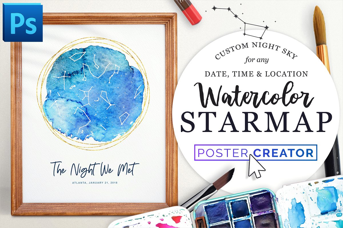 Star Map By Date And Location.Watercolor Starmap Poster Creator Photoshop Add Ons Creative Market