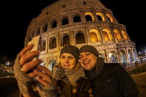 Happy couple making selfie