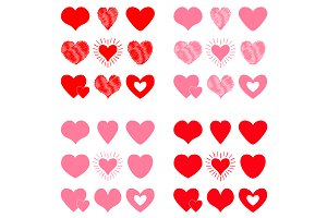 Pink Red heart icon set. Valentines