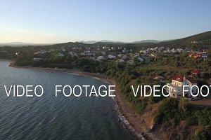 Aerial shot of town of seashore