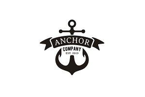 Retro vintage anchor & ribbon logo