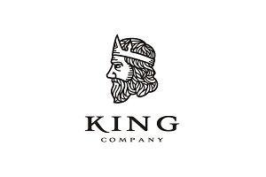 Line Art Greek King Face Logo design