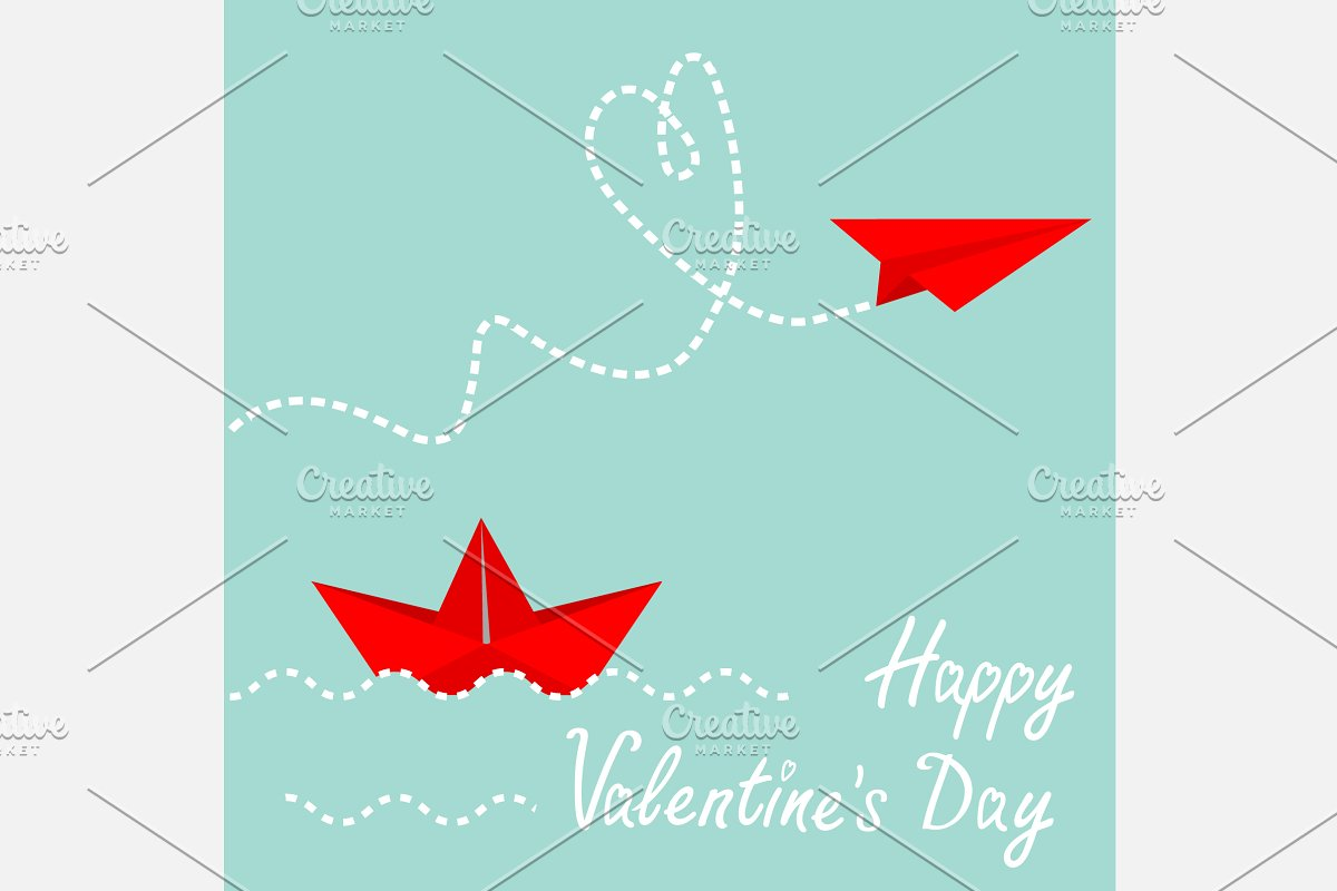 Red Origami Paper Boat And Plane Illustrations Creative Market
