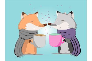 Cute cartoon fox and wolf with cup
