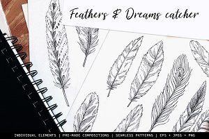 Set of feathers & Dream catchers
