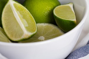 lime in a plate close up