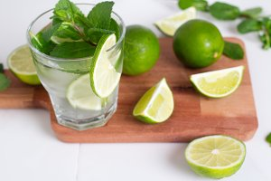mojito, drink, lime and mint with ic