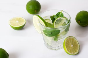 drink, water, mojito with lime and m