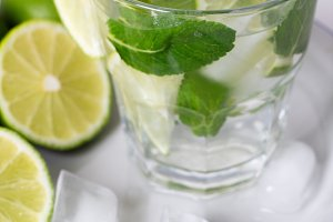 drink, water, mojito lime and mint w
