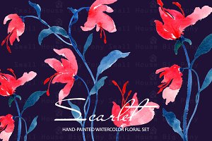 Scarlet - Watercolor Clip Art Set
