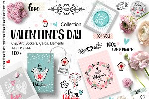 Valentine's Day elements & cards