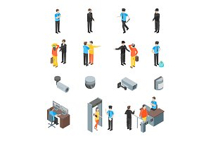 Security System 3d Set Isometric