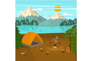 Cartoon Summer Tourist Camp Card