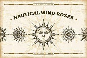 Vintage Nautical Wind Roses Set