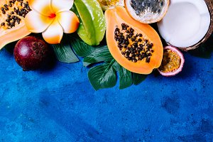 Tropical background with fruits