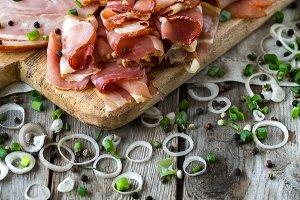 Ham, salami and sausages mix backgro