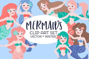 Pretty Mermaids Clip Art Set