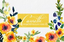 Camille- Watercolor Clip Art Set