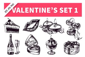 Valentine's Hand Drawn Vintage Set