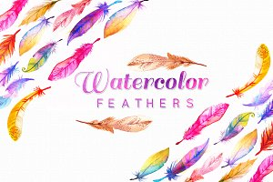 11 High Res Watercolor Feathers