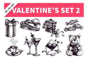 Valentine's Hand Drawn Vintage Set 2