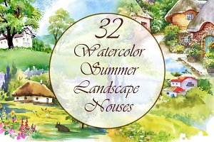 Watercolor summer landscape — Houses