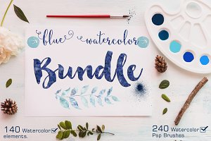 Watercolor Bundle +240 Ps Brushes