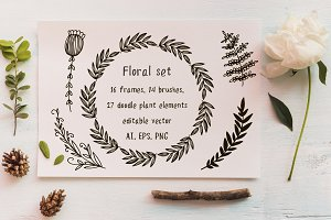 Floral set. Frames and brushes