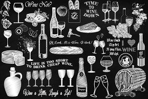Chalk Wine & Cheese Clip Art