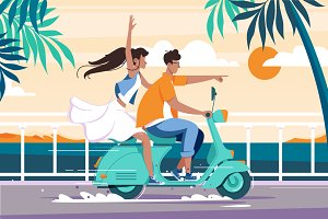 Couple riding on motorbike