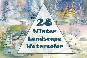 Watercolor winter landscape