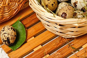 Quail eggs in basket. Easter.