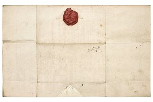 Antique paper sheet with wax seal
