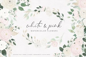 White & Pink Watercolor Flowers