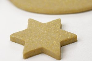 Homemade Xmas decorations gold stars.jpg