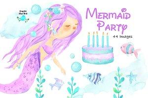 Mermaid Watercolor Clip Art Birthday