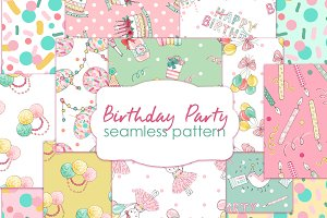 Birthday seamless patterns