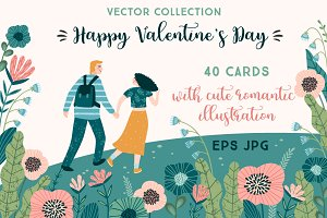 Happy Valentine's Day. Vector cards.