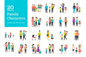 20 Family Characters Vector