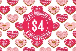 Heart Doughnuts Seamless Pattern
