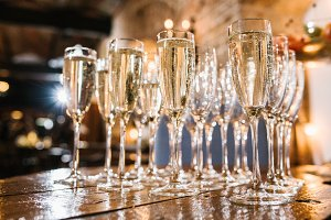 beautiful champagne glasses on the